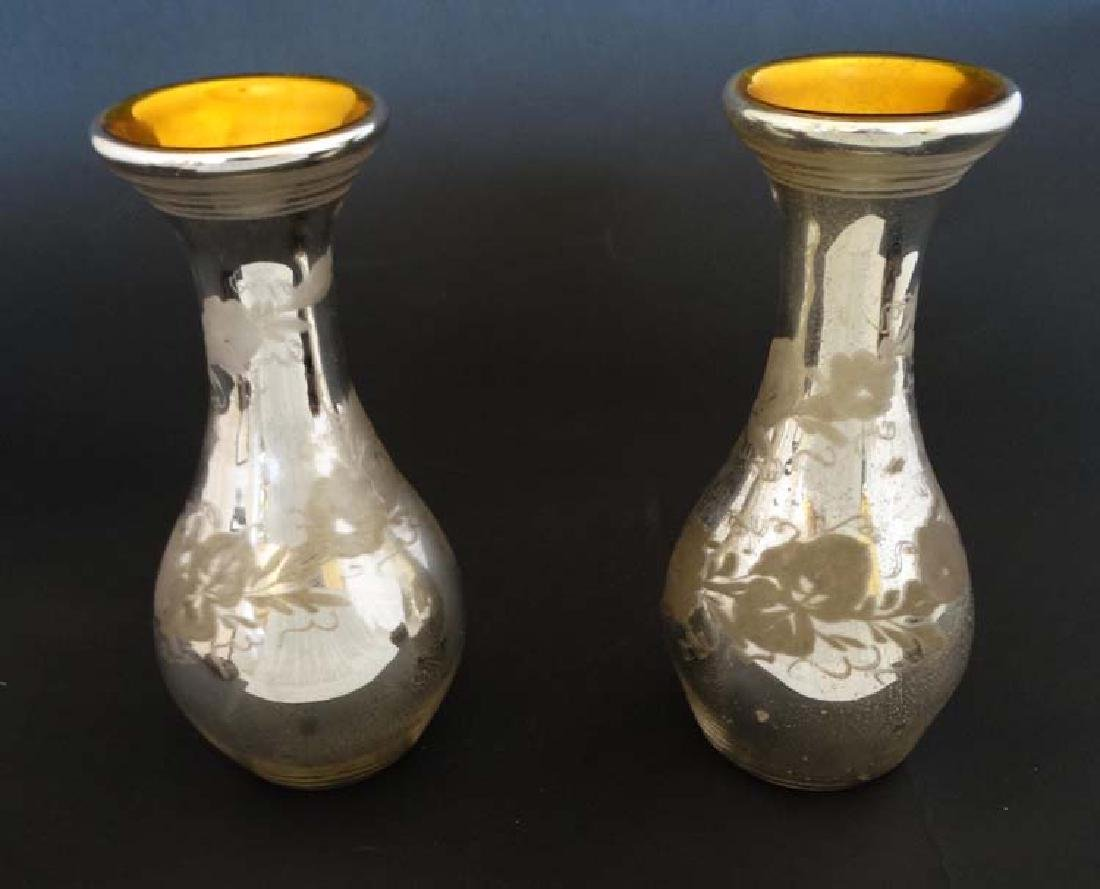 A pair of 19thC Mercury Glass vases, the exterior with