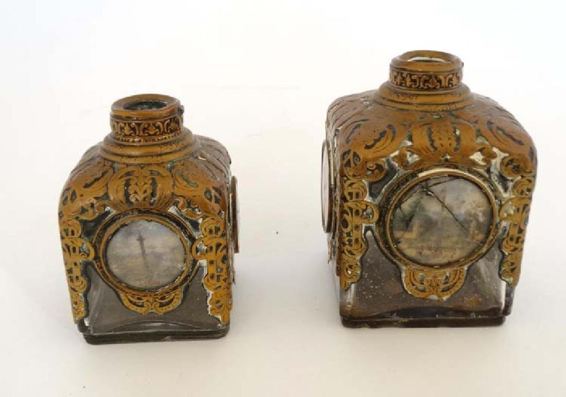 Two 19thC scent bottles with pierced metallic covering