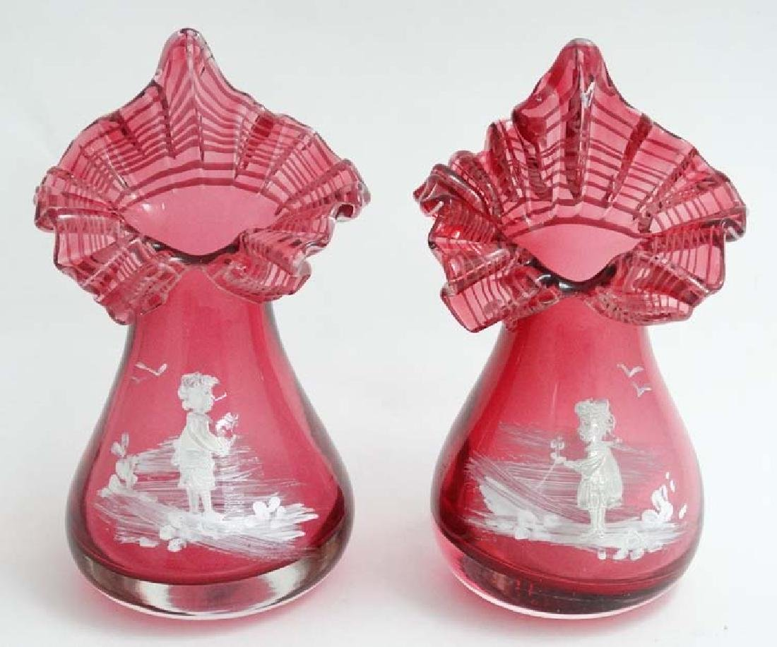 A pair of Cranberry glass Jack in the pulpit style