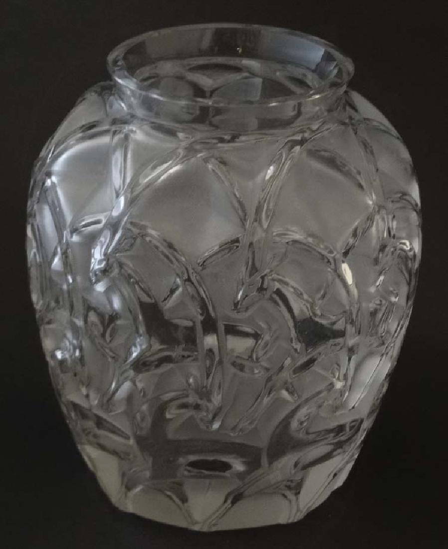 Lalique : A Lalique glass chamois vase. Signed under