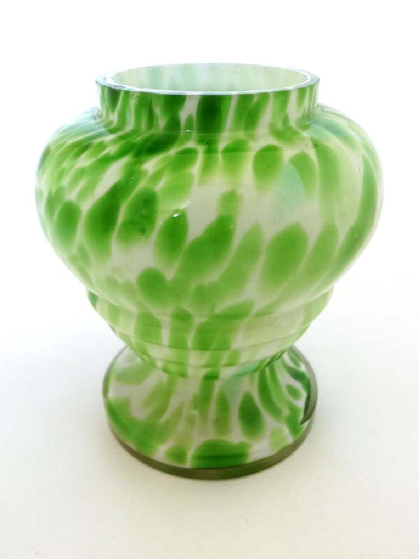End of day  / Spatter  glass pot  , a green and white