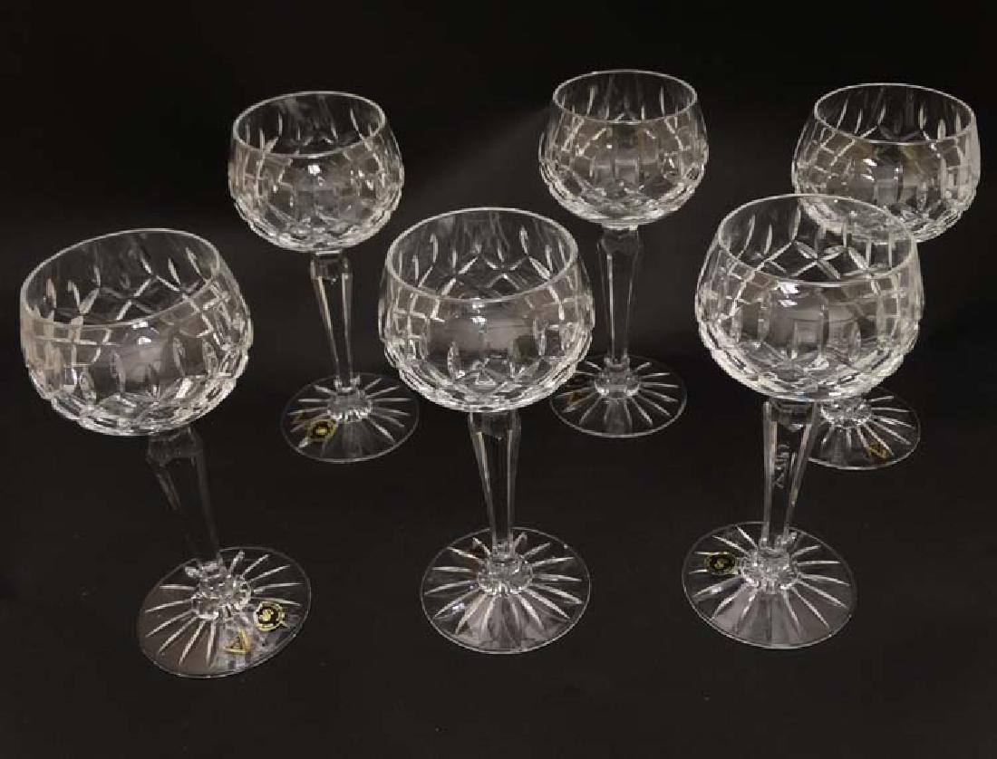 A set of 6 cut crystal hock / wine glasses 7 1/4'' high