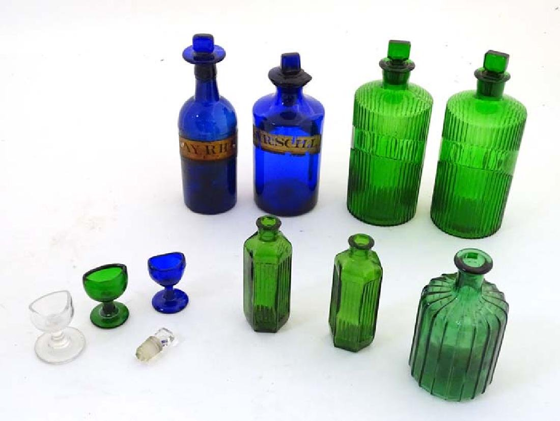 Apothecary/ Chemist Bottles : a quantity of 6 blue and