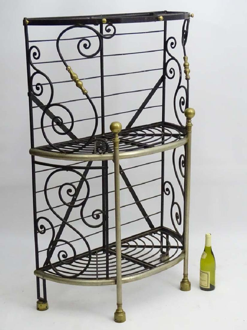 Bread Stand : a painted wrought iron and brass 3 tier