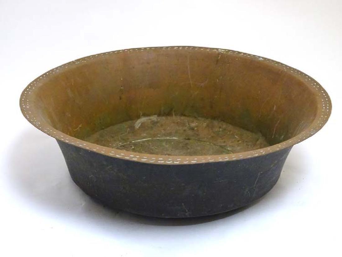 Kitchenalia : A large Victorian Copper Bowl , bears