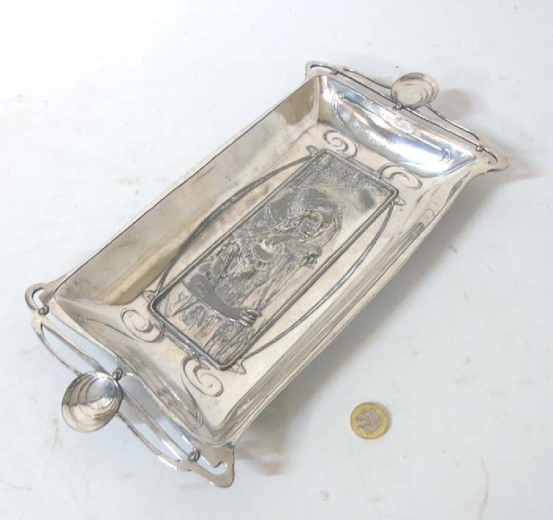 French Art Nouveau :A silver plate on pewter dish of
