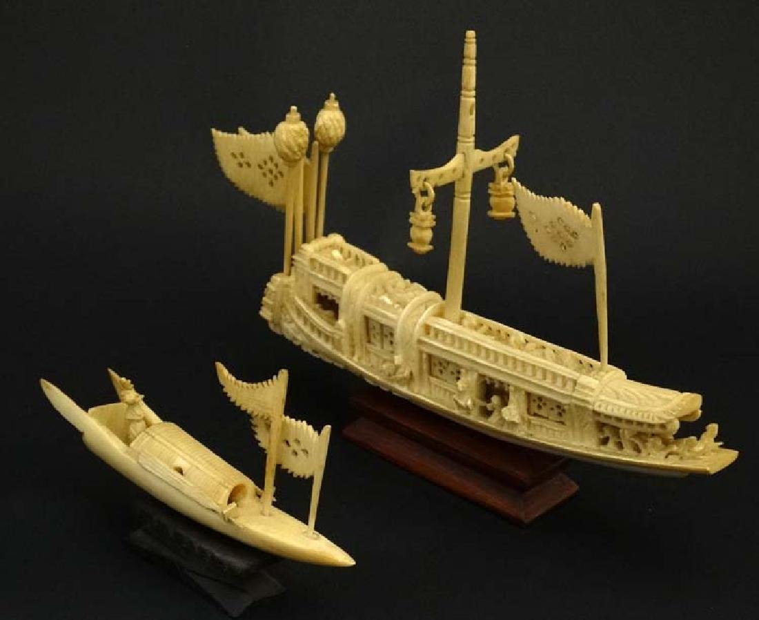 C.1900 Chinese Carved Ivory Wedding Barge, a finely