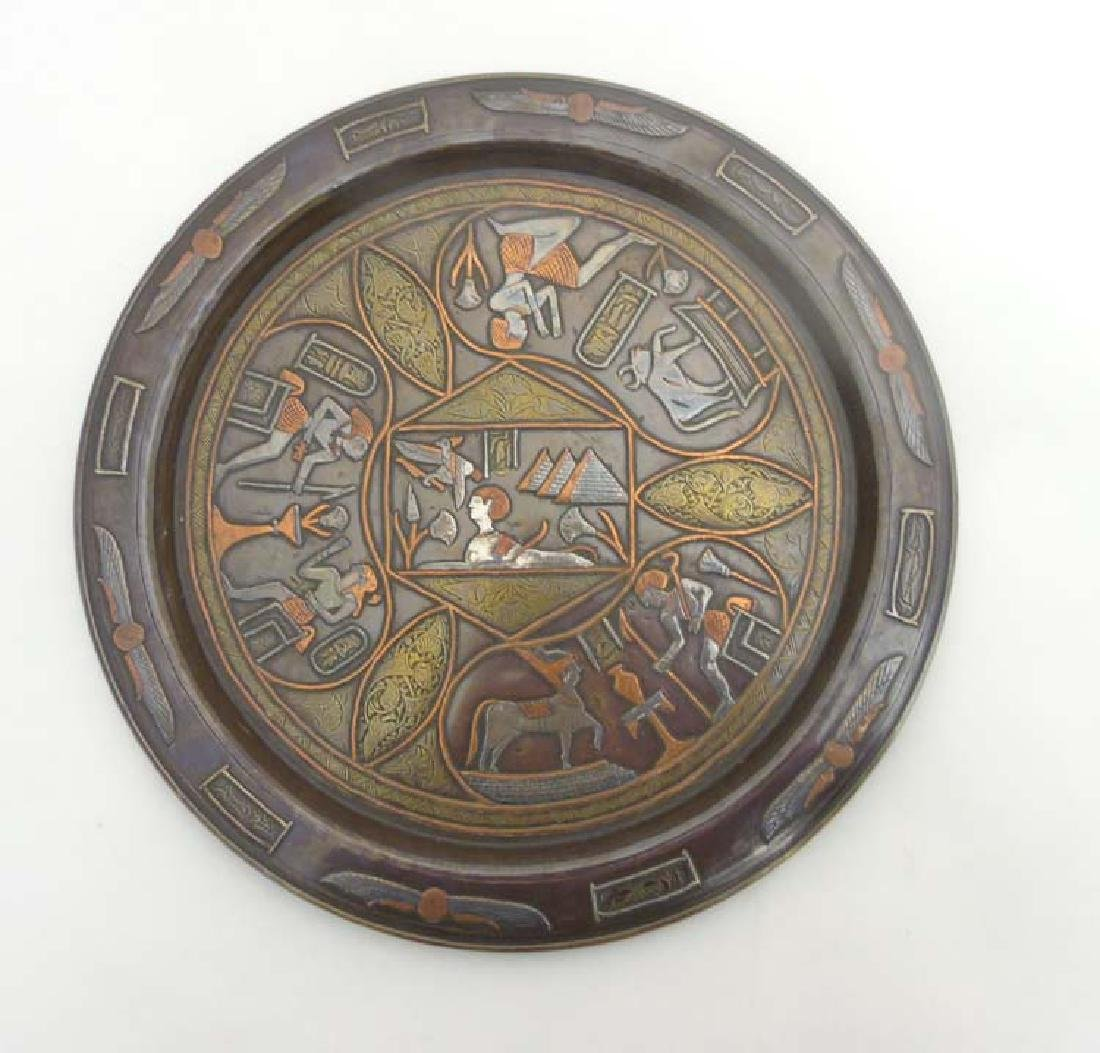 A c.1920 Egyptian copper tray with inlaid brass silver