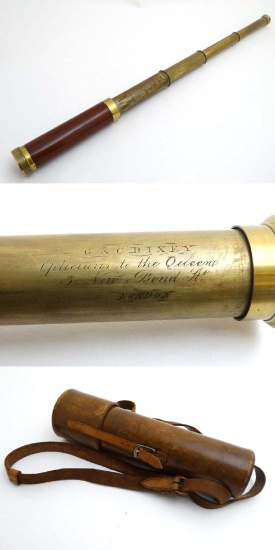 A Victorian five - draw telescope with mahogany and