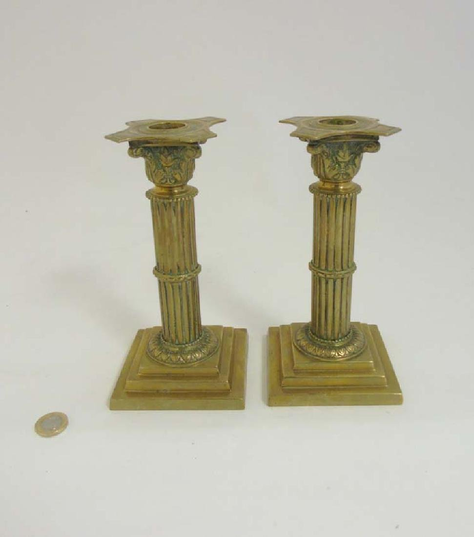 Ornate 19 th Candlesticks : a pair of circa 1890 brass