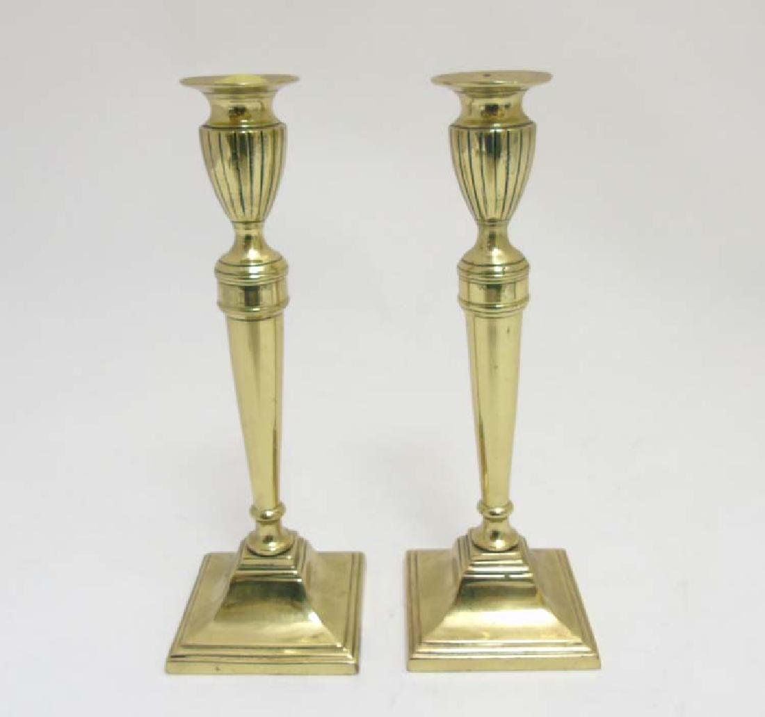 A pair of 19thC cast brass Neo Classical style
