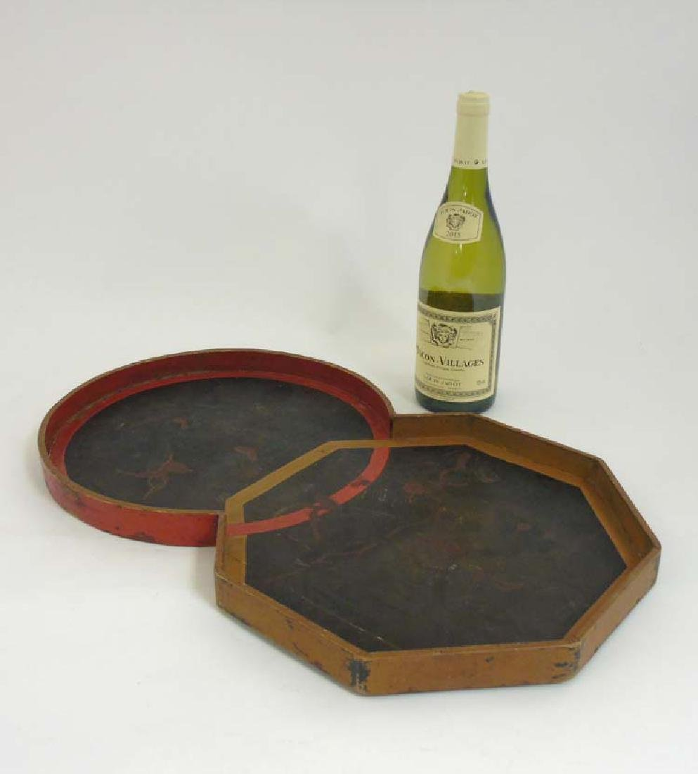 An unusual Japanese lacquered tray with co-joined