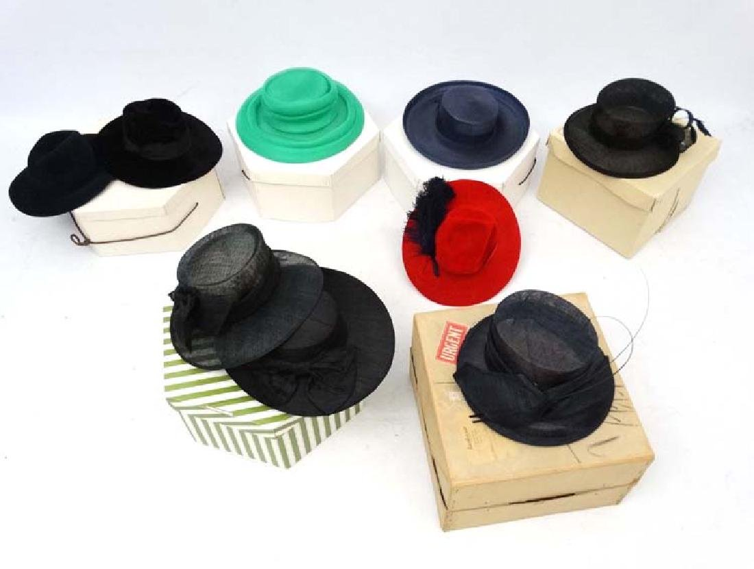 Assorted hats to include 2 Herbert Johnson hats, black