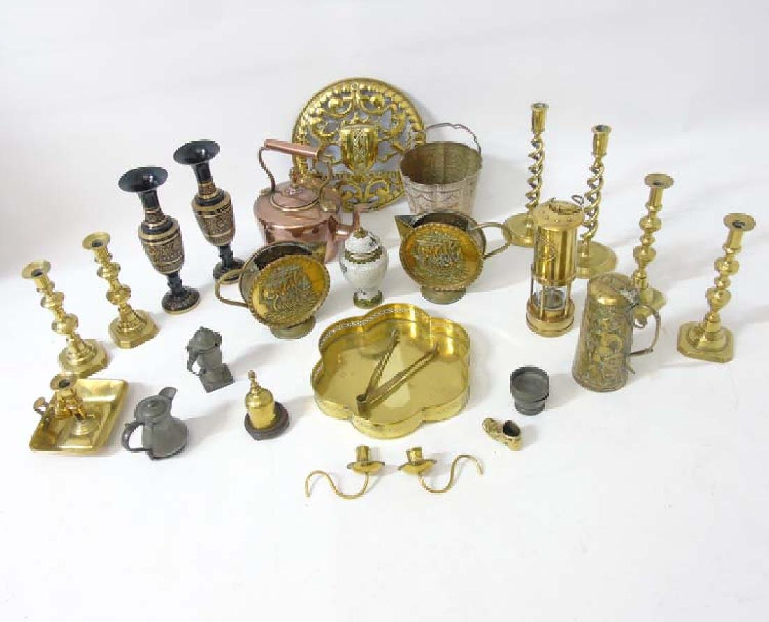 A quantity of assorted brass and copper ware etc