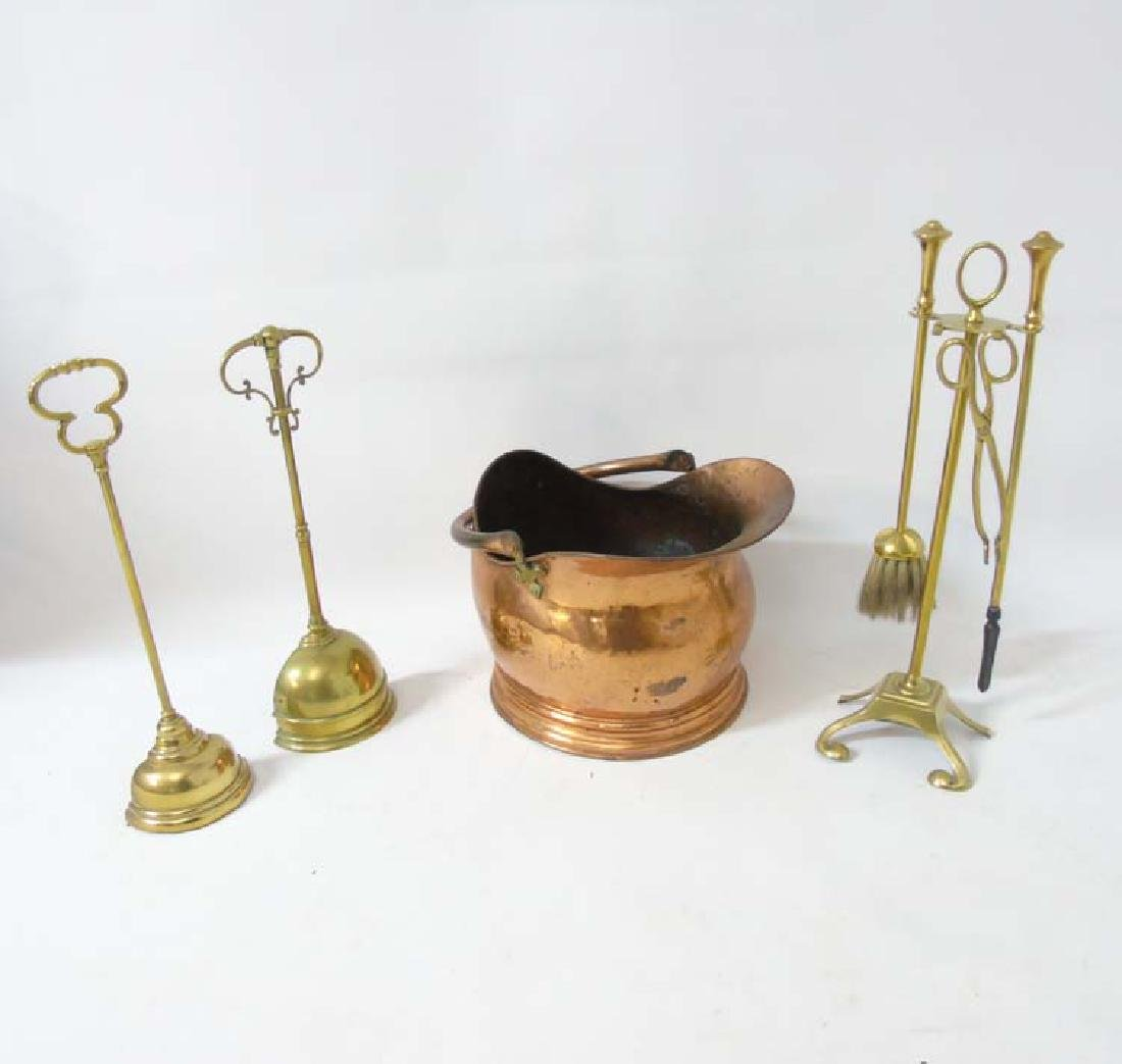 Assorted brass / copper comprising 2 19thC weighted