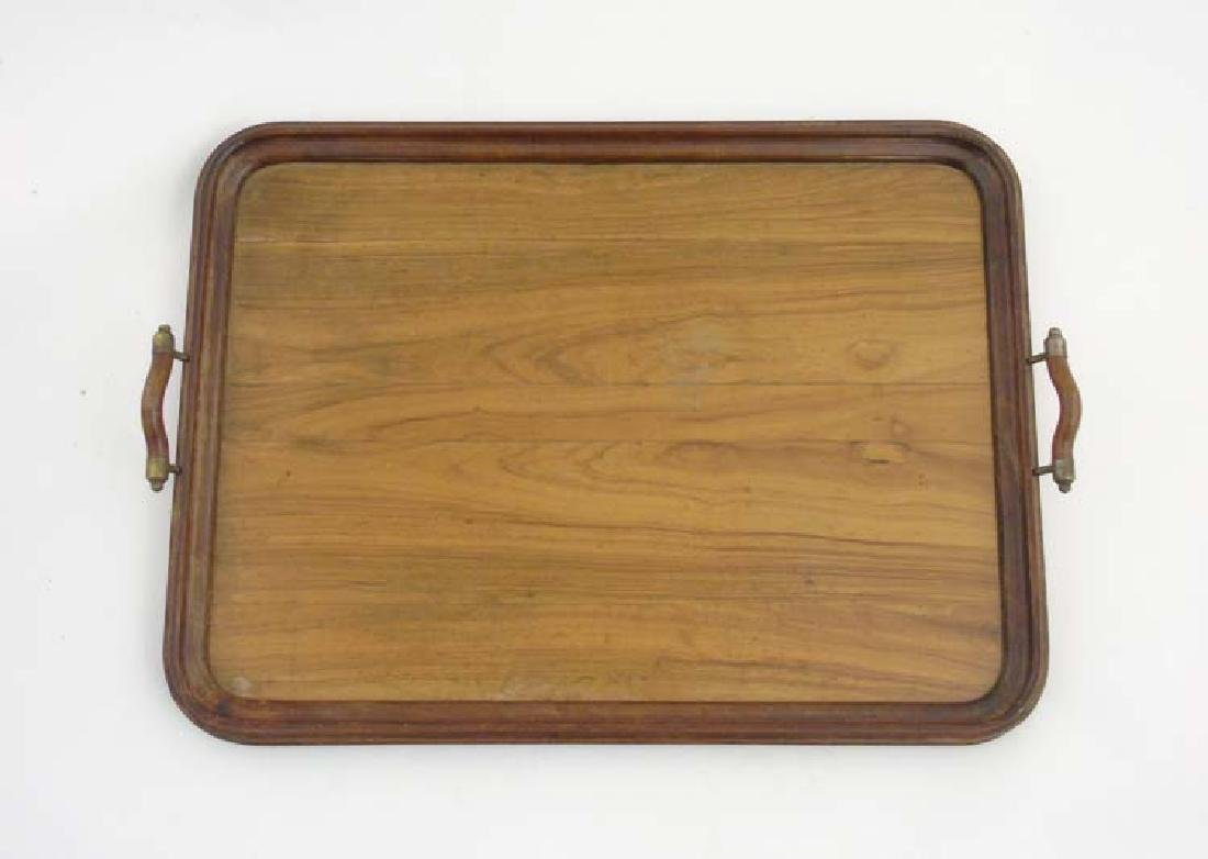 A c. 1900 mahogany and olive wood 2 handled tray ,