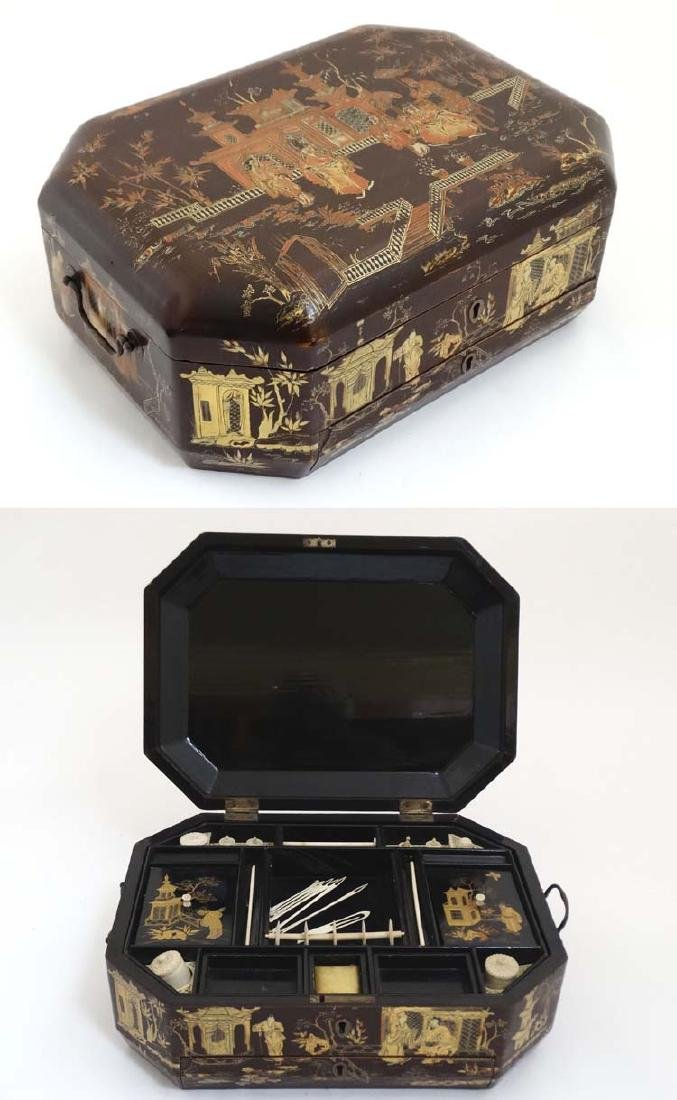 An early 19thC brown lacquer ladies sewing / work box