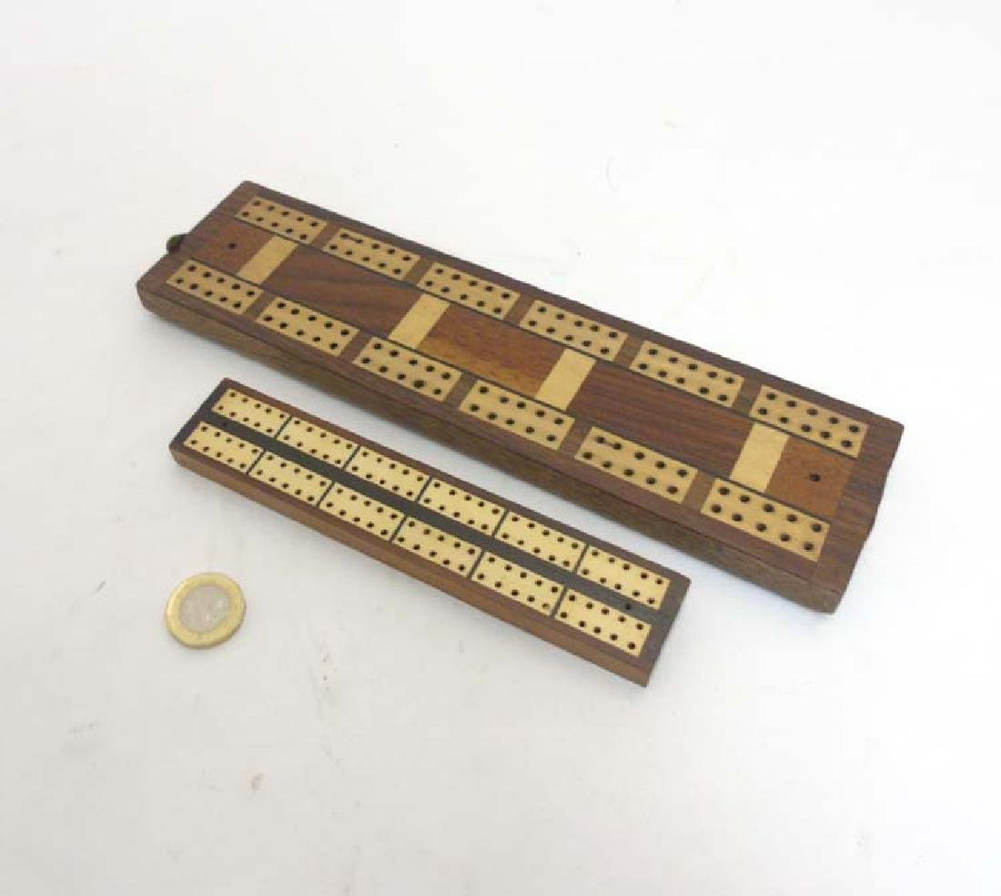 Cribbage: two cribbage boards, both with inlaid