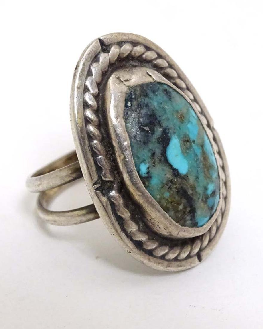 Native American jewellery: A white metal ring set with