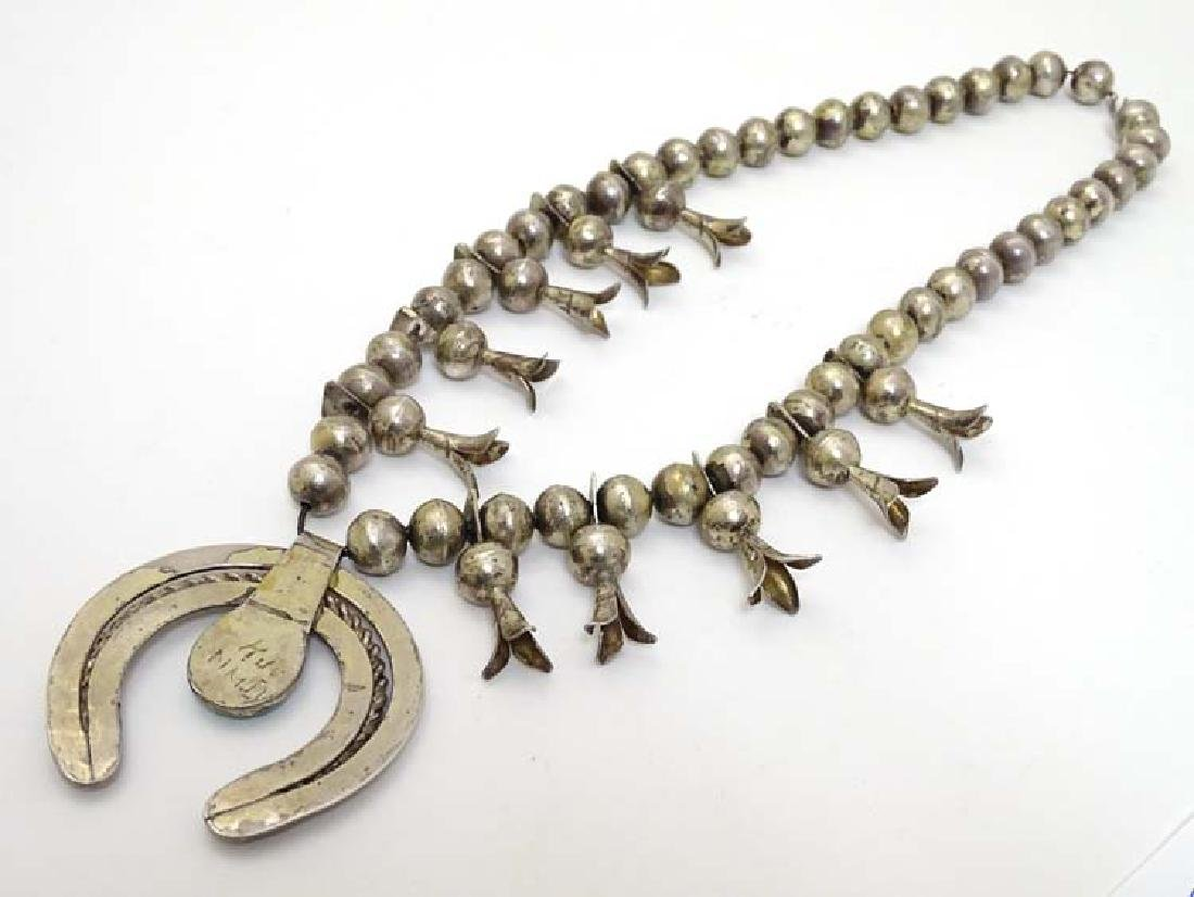 Native American jewellery: A mid 20thC white metal and - 5