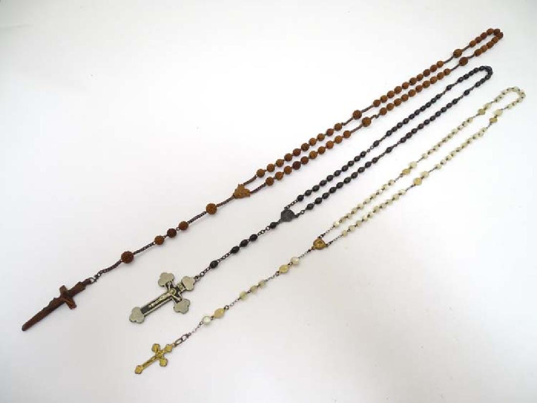 3 various rosaries comprising  carved wood and mother