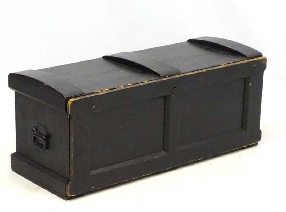 19 thC Carpenters chest , the black painted exterior