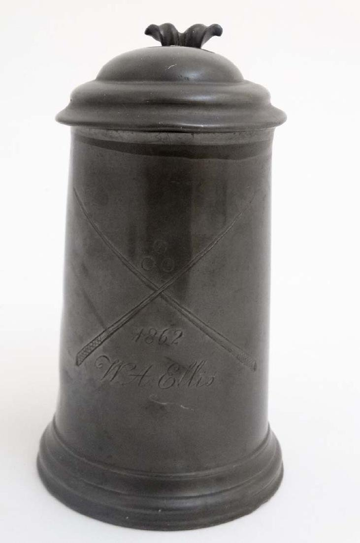 Billiards / Snooker: an 1862 pewter 'Tappit hen'