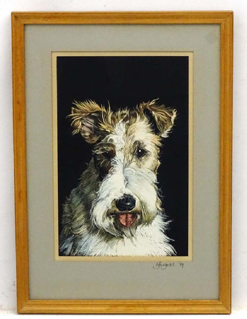 Dog: M Burgess '79, Scraperboard with colour, Portrait
