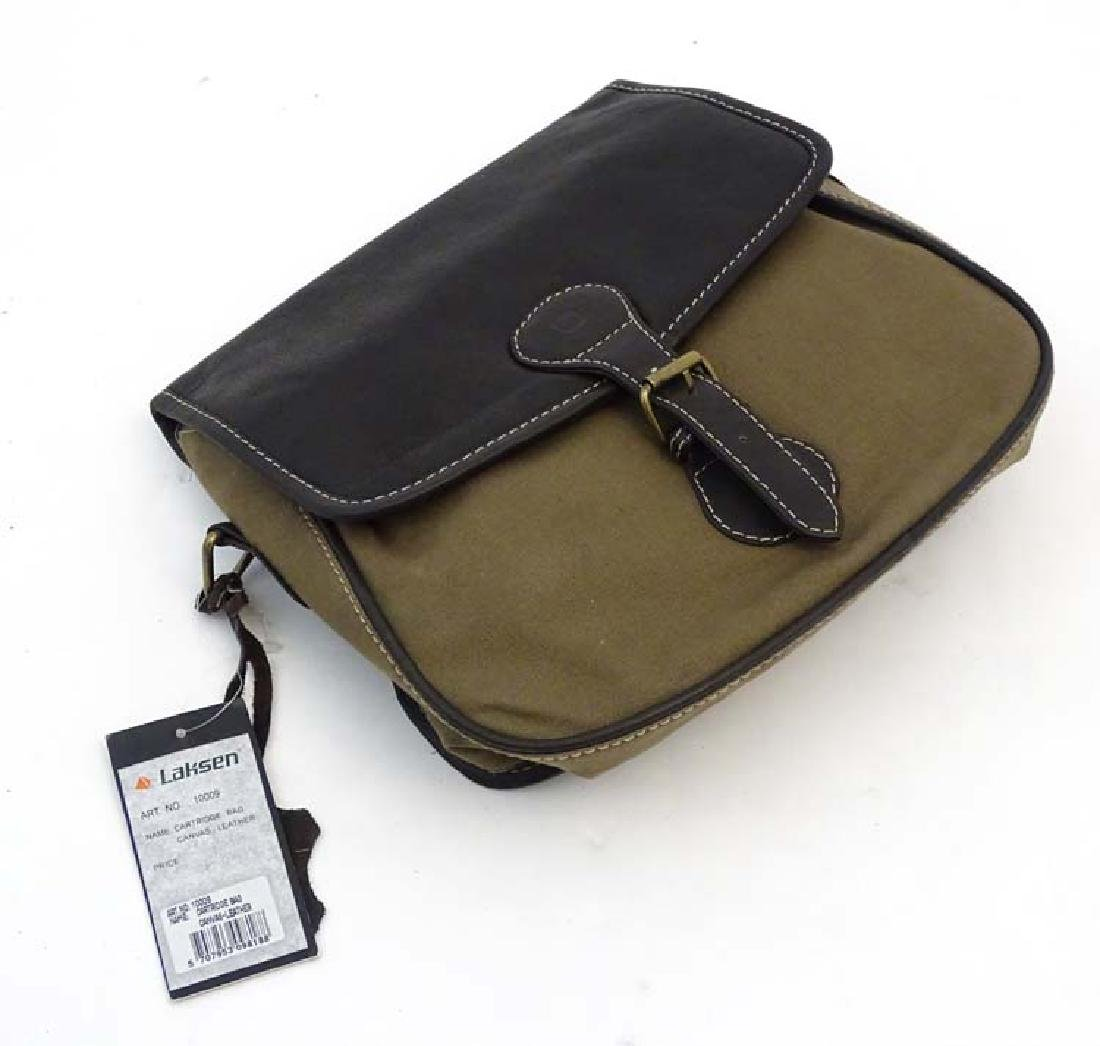 Shooting: A Laksen canvas and leather cartridge bag