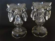 Victorian table Lustres  a pair of clear glass