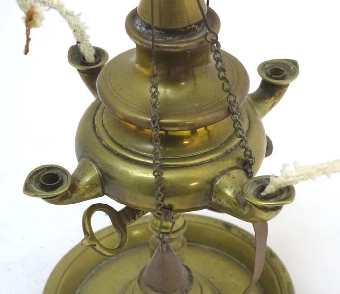 Arabic Oil Lamp : a cast brass classical style oil lamp - 6