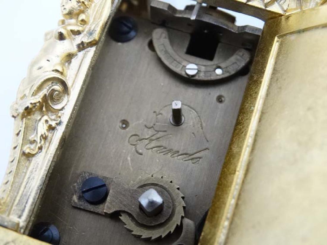 Miniature gilded carriage clock : an ornate cast case - 3