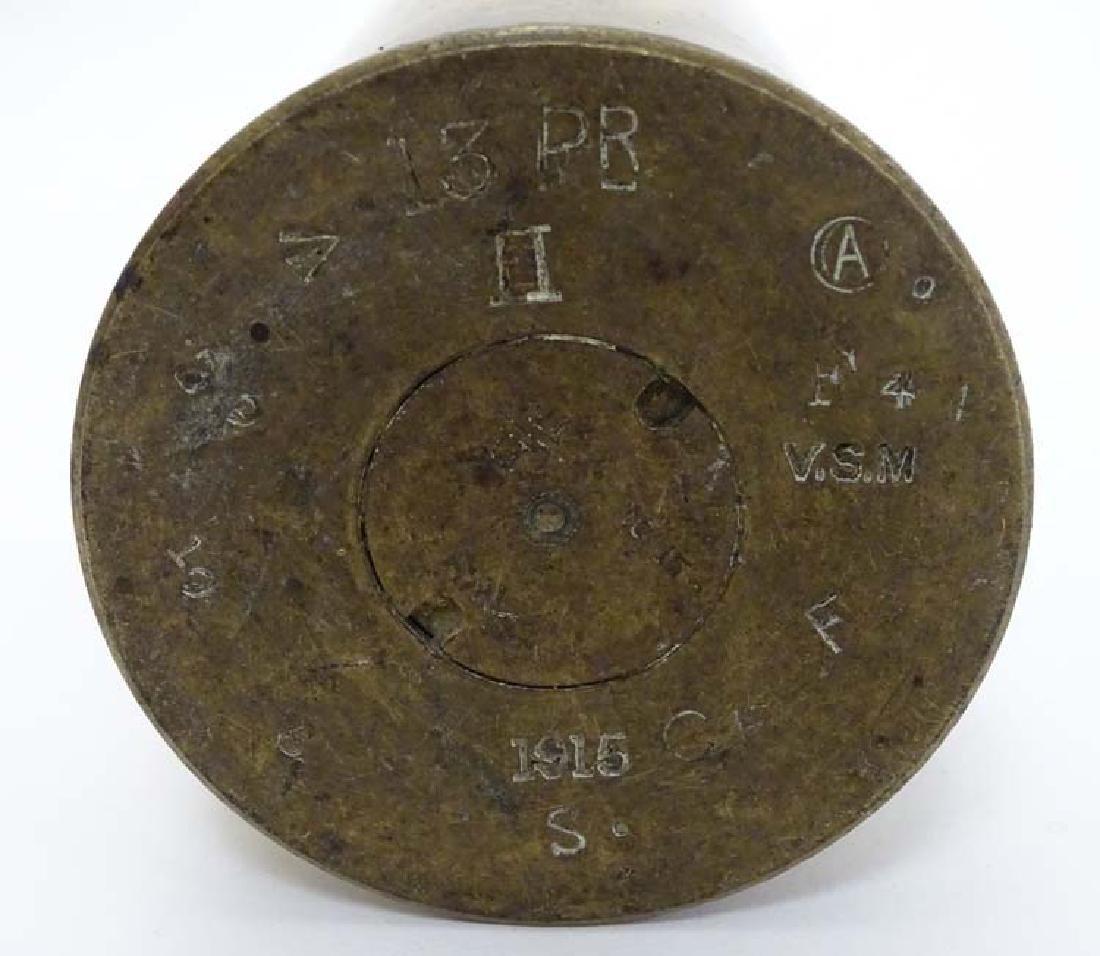 Militaria : a WWI 13pdr field gun artillery shell case - 5