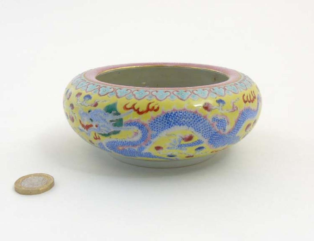 A Chinese enamelled famille rose dragon brush pot, - 3