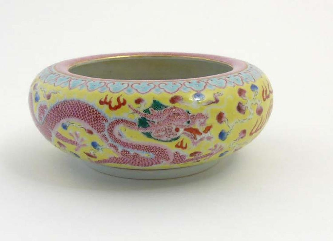 A Chinese enamelled famille rose dragon brush pot, - 5