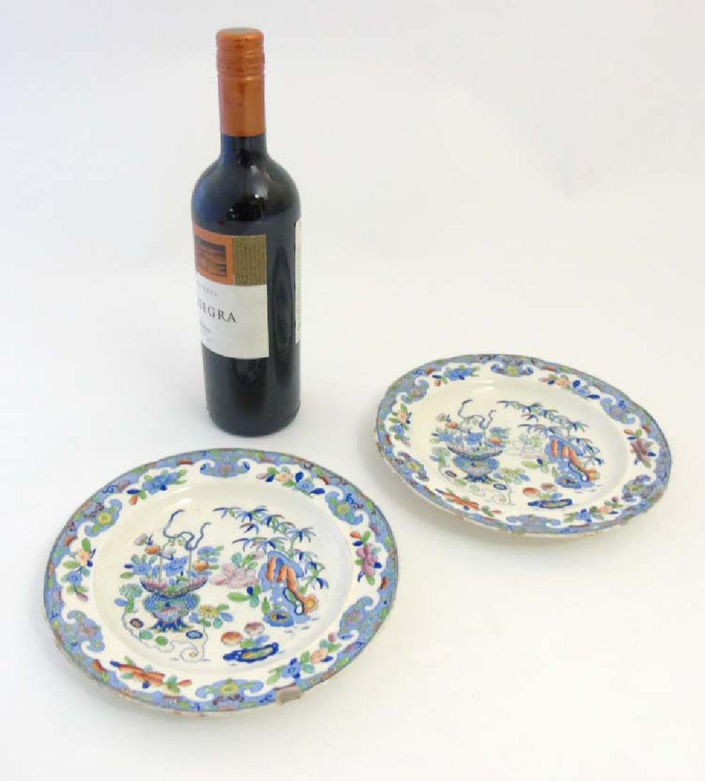A pair of 19thC Folch & Son plates with blue transfer