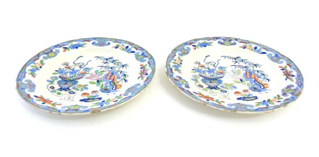 A pair of 19thC Folch & Son plates with blue transfer - 3