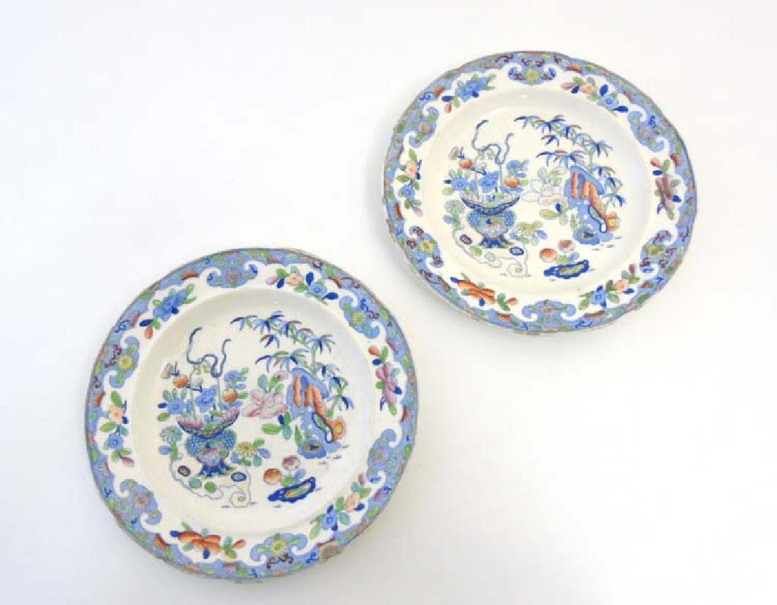 A pair of 19thC Folch & Son plates with blue transfer - 4