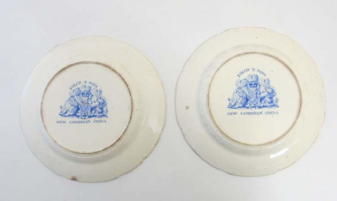A pair of 19thC Folch & Son plates with blue transfer - 5