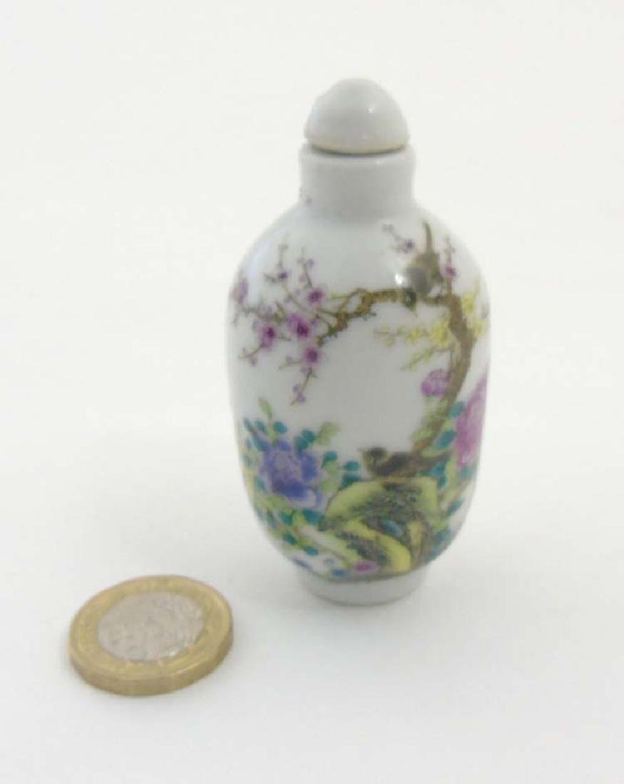 An Oriental Famille Rose snuff bottle depicting a - 3