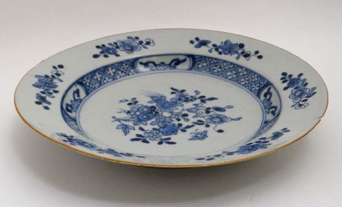 A blue and white Chinese ceramic plate. Decorated with - 2