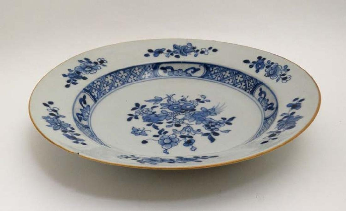 A blue and white Chinese ceramic plate. Decorated with - 3