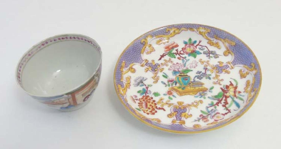 A matched tea cup and saucer comprising a 19thC Minton - 5