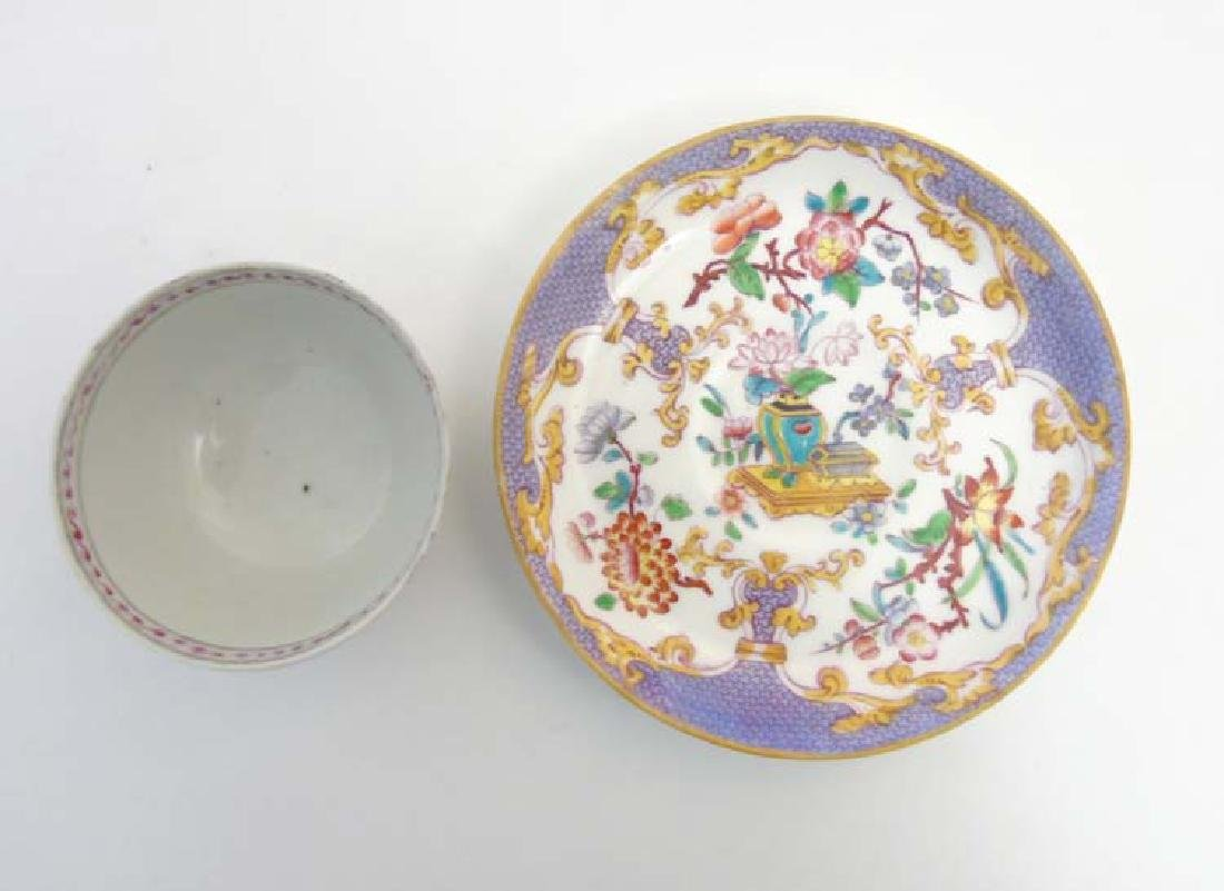 A matched tea cup and saucer comprising a 19thC Minton - 6