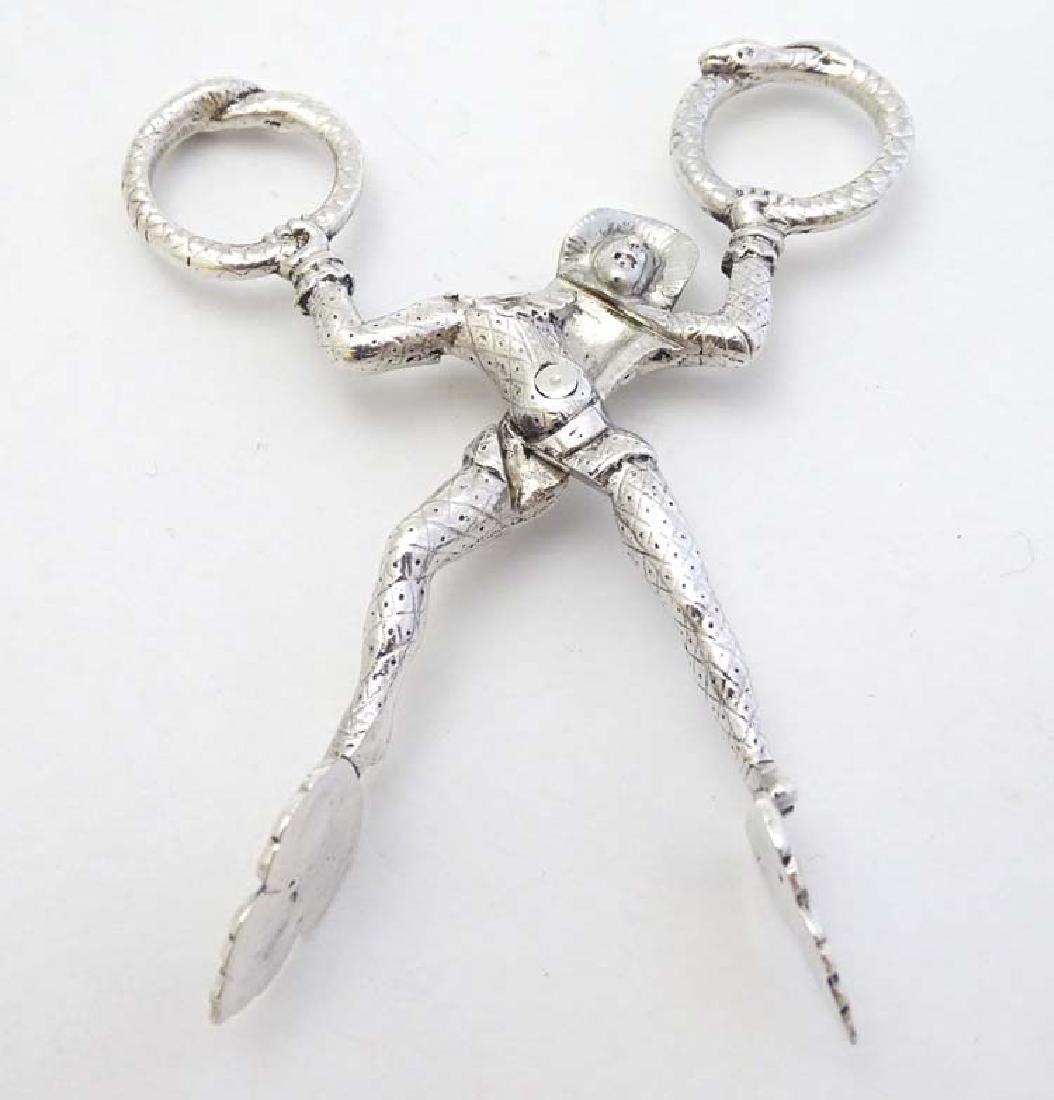 A pair of Victorian silver novelty harlequin sugar - 3