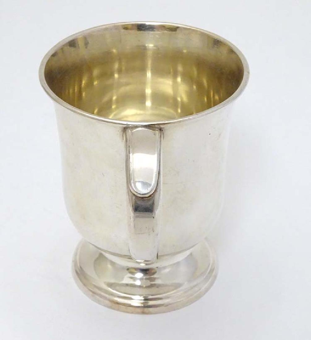 A silver plate tankard with loop handle 4'' high - 5