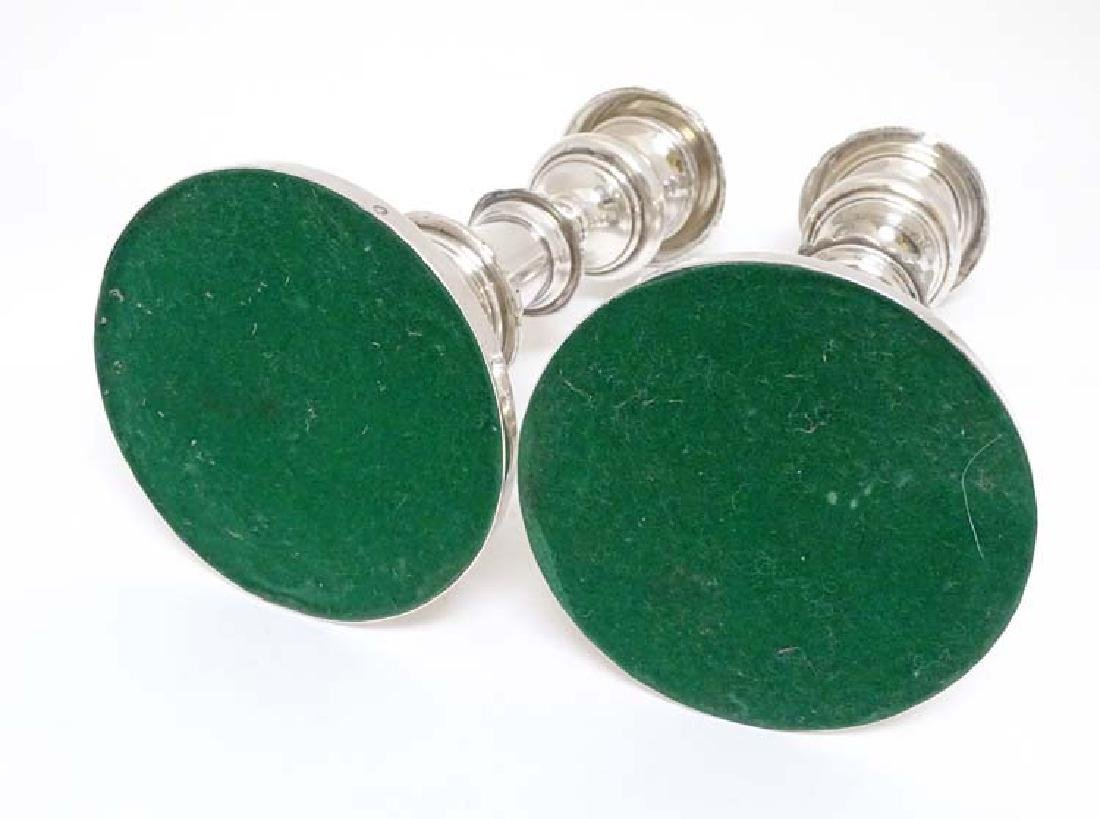 A matched pair of 19thC  Old Sheffield plate telescopic - 2