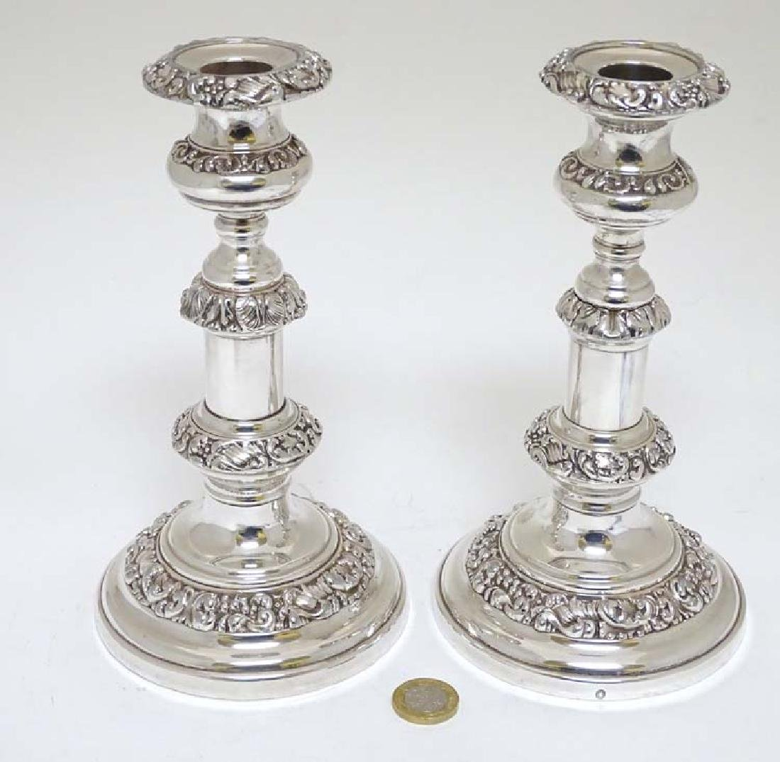 A matched pair of 19thC  Old Sheffield plate telescopic - 3