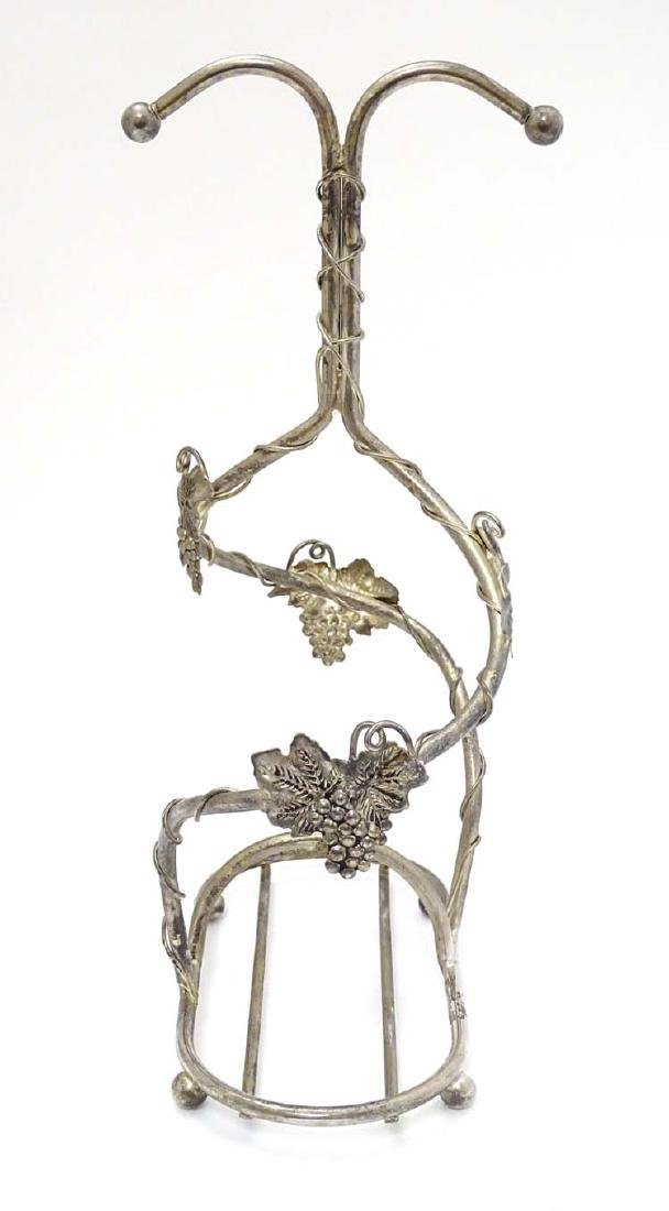 A late 20thC silver plate twin wine bottle stand with - 3