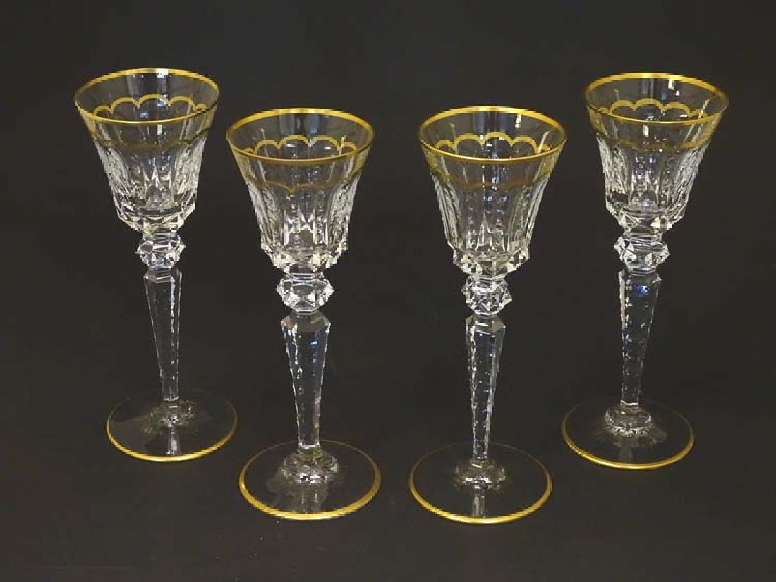 Glass : St. Louis , France a set of 4 crystal long stem
